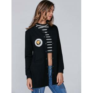 Applique Single Breasted Coat With Slit Pockets -