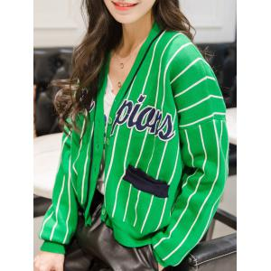 Batwing Sleeve Graphic Embroidered Striped Cardigan -