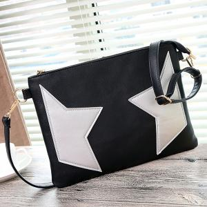 PU Leather Star Color Block Crossbody Bag -