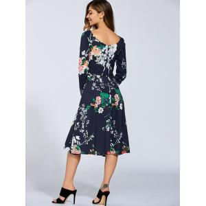 Boat Neck Long Sleeve Floral Midi Dress -
