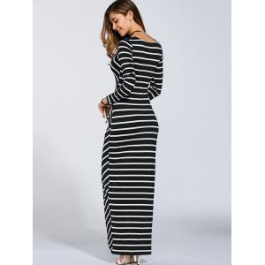 Petite Striped Long Sleeve Slit Jersey Maxi Dress - STRIPE XL