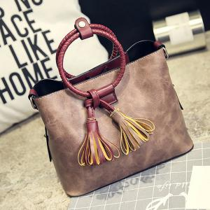 Faux Leather Tassels Tote Bag -