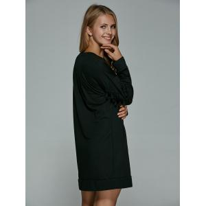 Long Drop Shoulder Sweatshirt Dress with Tassel - BLACK L