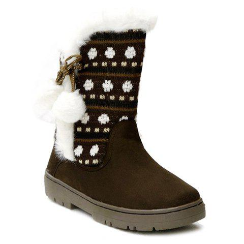 Buy Stylish Knitting and Pompon Design Women's Snow Boots