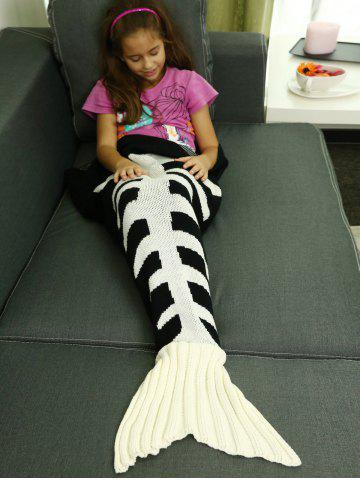 Knitted Fishbone Sofa Wrap Kids Mermaid Tail Blanket - WHITE AND BLACK - L