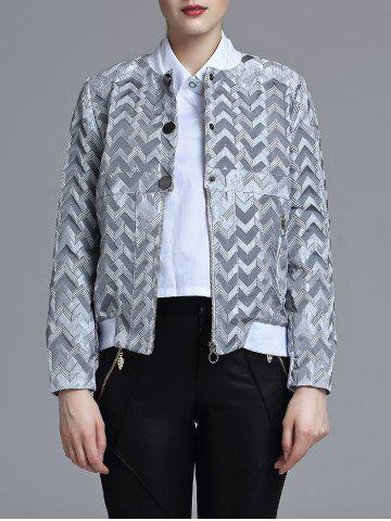 Sale Jacquard Geometric Zip-Up Jacket
