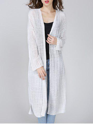 Chic Ribbed Side Slit Long Cardigan