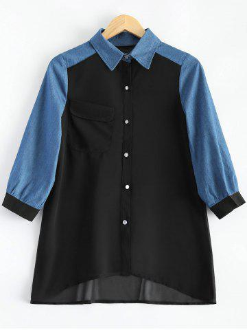 Unique Autumn Faux Opal Button Denim Match Chiffon Shirt DEEP BLUE 3XL