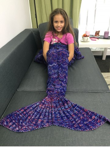 Super Soft Acrylic Knitted Mermaid Tail Style Blanket - DEEP PURPLE