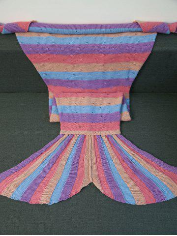 New Warmth Multicolor Stripes Design Knitted Mermaid Tail Blanket COLORMIX