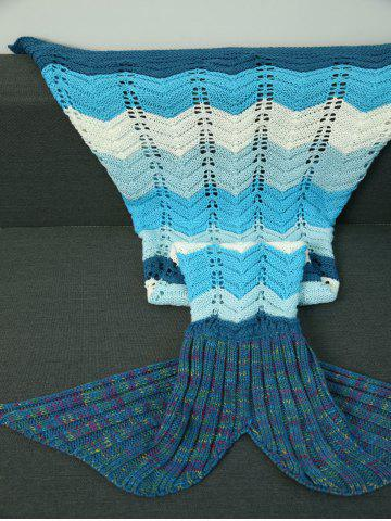 Shops Knitted Wave Striped Openwork Design Mermaid Blanket COLORMIX