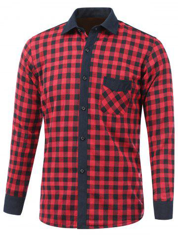 Trendy Checked Pocket Design Turn-Down Collar Fleece Shirt