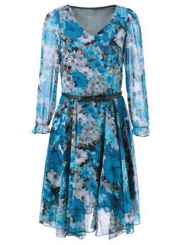 V Neck Belted Chiffon Casual Short Flowy Dress - Blue - M