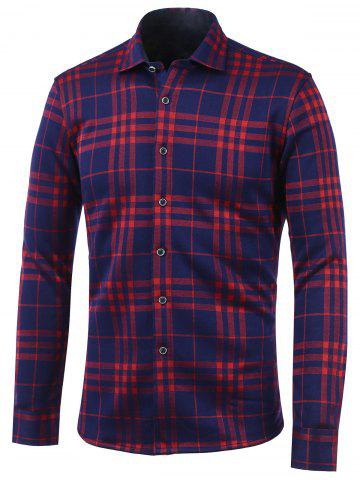 Affordable Tartan Print Turn-Down Collar Fleece Shirt