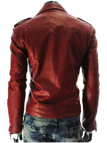 Trendy Stand Collar PU-Leather Zipper Epaulet Long Sleeve Jacket For Men - L RED Mobile
