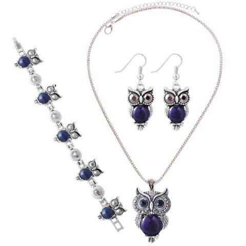 Affordable A Suit of Faux Gem Owl Jewlry Set DEEP BLUE
