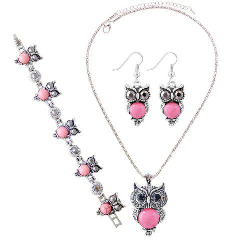 New A Suit of Faux Gem Owl Jewlry Set PINK