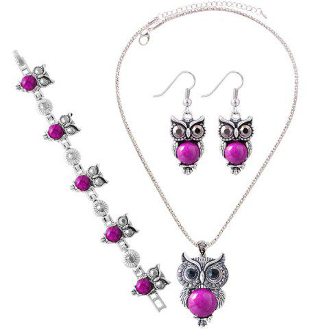 Trendy A Suit of Faux Gem Owl Jewlry Set - ROSE RED  Mobile