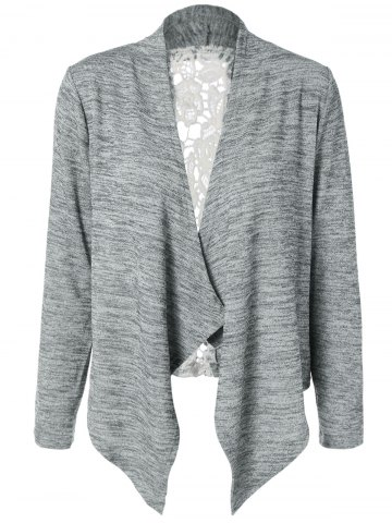 Fancy Collarless Lace Spliced Asymmetric Cardigan