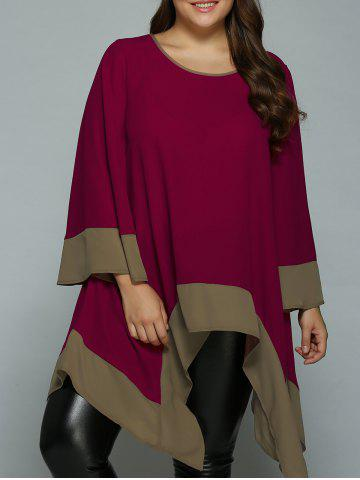 Plus Size Flare Sleeve Asymmetrical Blouse - Wine Red - 5xl