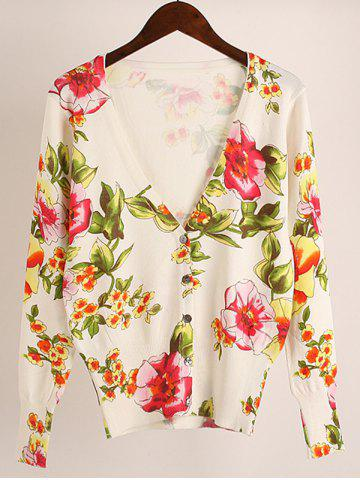 Cheap Floral Stretchy Cardigan