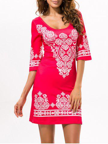 Store Stretchy Ethnic Style Printed Dress RED XL