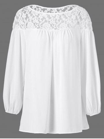 Sale Openwork Lace Patchwork Smock Blouse
