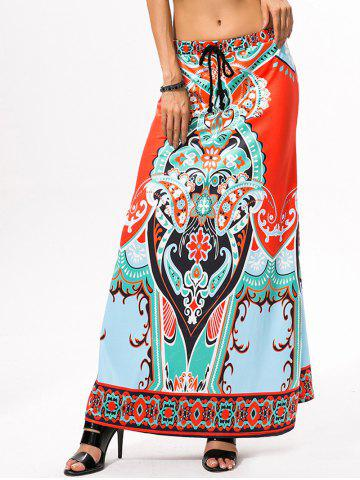 Unique Drawstring Ethnic Style African Print Maxi Skirt