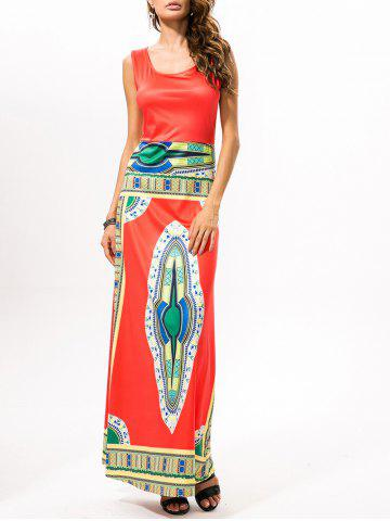 Printed Ethnic Style Maxi Dress - Watermelon Red - Xl