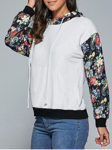 Affordable Floral and Paisley Trim Drawstring Hoodie