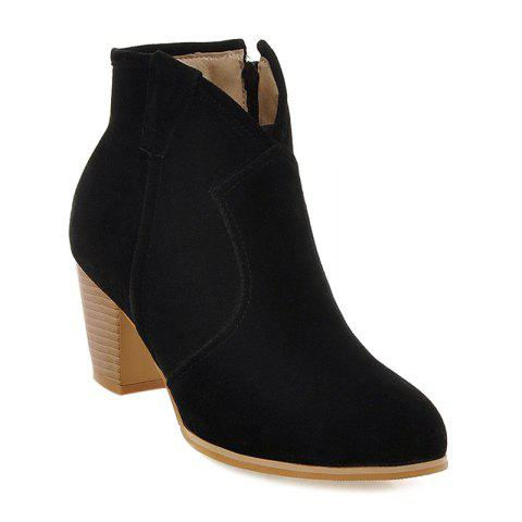 Fashion Zipper Suede Stitching Ankle Boots BLACK 39