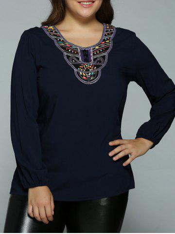 Sale Plus Size Embroidery Beading Embellished Blouse