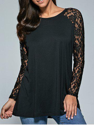 Unique Lace Sleeve Sheer Comfy Blouse BLACK XL