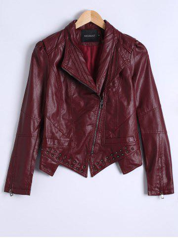 Affordable Zipper Fly Asymmetric PU Jacket