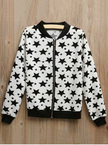 Shops Zipper Fly Star Print Bomber Jacket