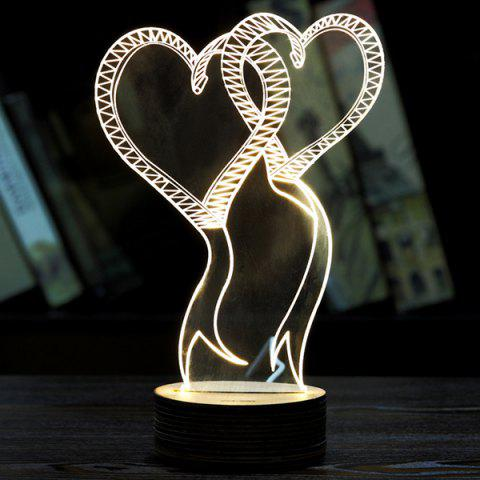 Affordable Double Love 3D LED Wooden Base Sleeping Atmosphere Visual Night Light WHITE