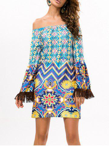 Outfit Long Sleeve Off The Shoulder Ethnic Fringed Dress