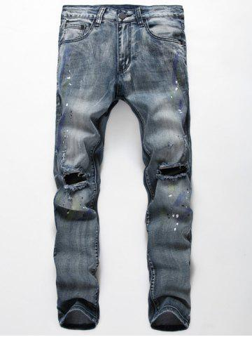 Fashion Paint Splatter Print Zipper Fly Ripped Jeans