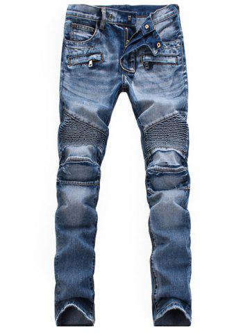 Zippered Scratched Biker Denim Jeans - Light Blue - 36