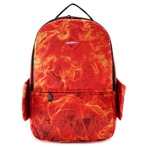 Fashion Wing Flame Print Zipper Backpack
