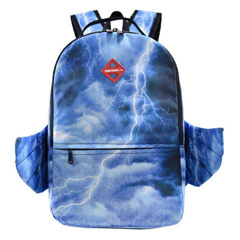 Discount Color Splicing Lightning Print Wing Backpack