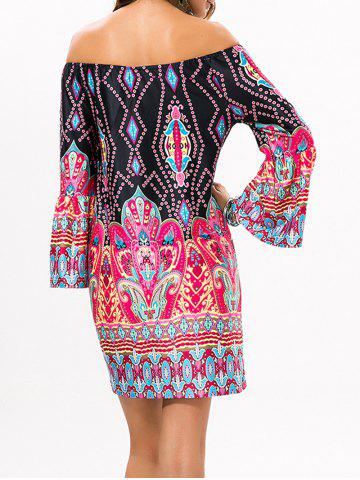 Online Off The Shoulder Mini Dress with Sleeves - M BLACK Mobile