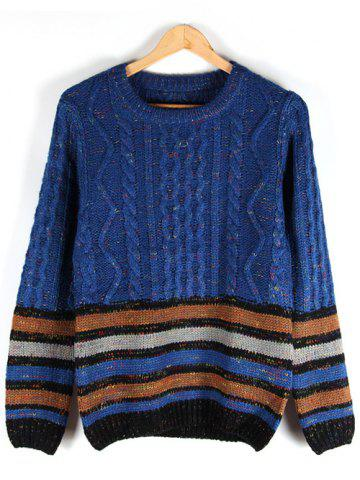 Striped Crew Neck Cable-Knit Sweater - BLUE L