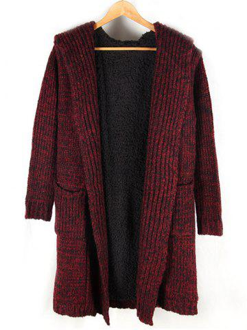 Affordable Heathered Pocket Front Fleece Lined Hooded Cardigan RED XL