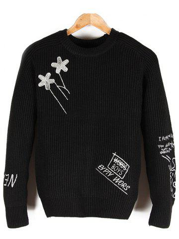 Chic Embroidered Crew Neck Pullover Sweater