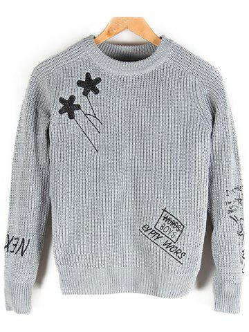 Hot Embroidered Crew Neck Pullover Sweater