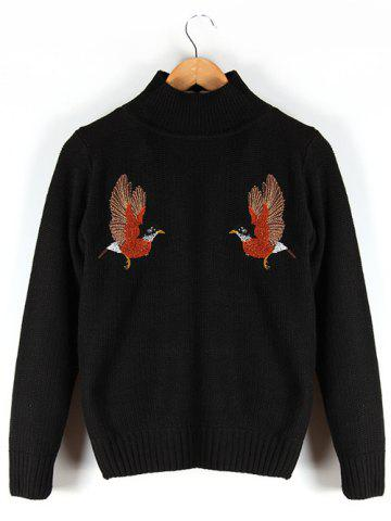 Cheap Stand Collar Embroidered Ribbed Sweater