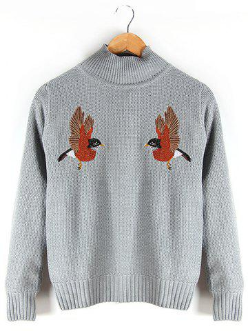 Embroidered Ribbed Sweater