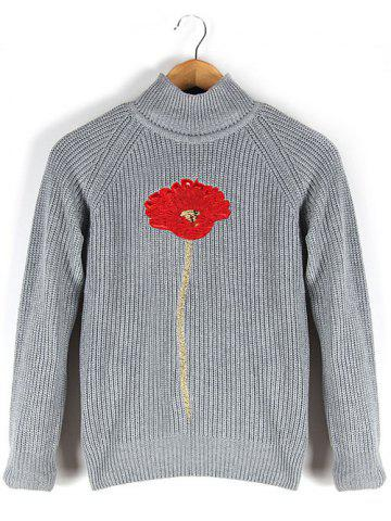 Hot Stand Collar Floral Embroidered Raglan Sleeve Sweater