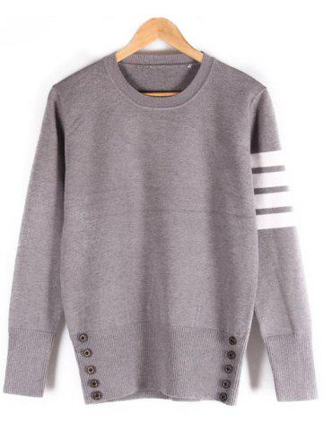 Trendy Button Embellished Ribbed Crew Neck Sweater